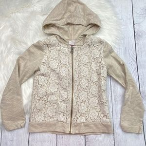 Savannah Toddler Girl's Size 4T Lace Overlay Detail Zip-Up Hooded Jacket